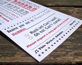 Concert Ticket Wedding Invitation - Sample Pack - Free Shipping - Rock and Roll Invitation