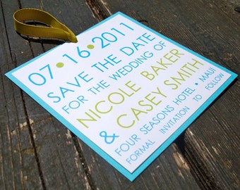 Square Save The Date (sample) - Aqua and Lime - FREE SHIPPING
