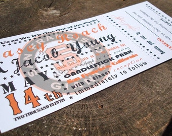 Baseball Ticket Wedding Invitation (Sample)