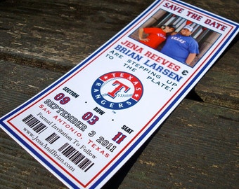 Baseball Ticket Save The Date | Starts at 3 dollars per ticket | Customize with any sports team | Save the dates with photo