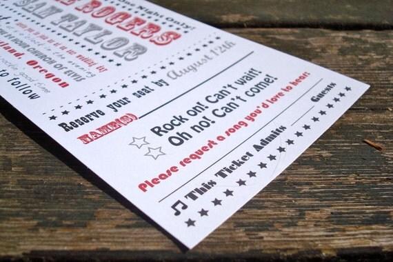 Concert Ticket Wedding Invitation Sample Pack Free