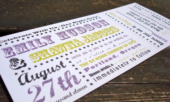 items similar to concert ticket wedding invitation sample