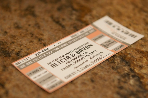Concert Ticket Escort Card   Concert Ticket Place Card   1.75 per ticket   sample pack   free shipping   music - rock and roll - unique