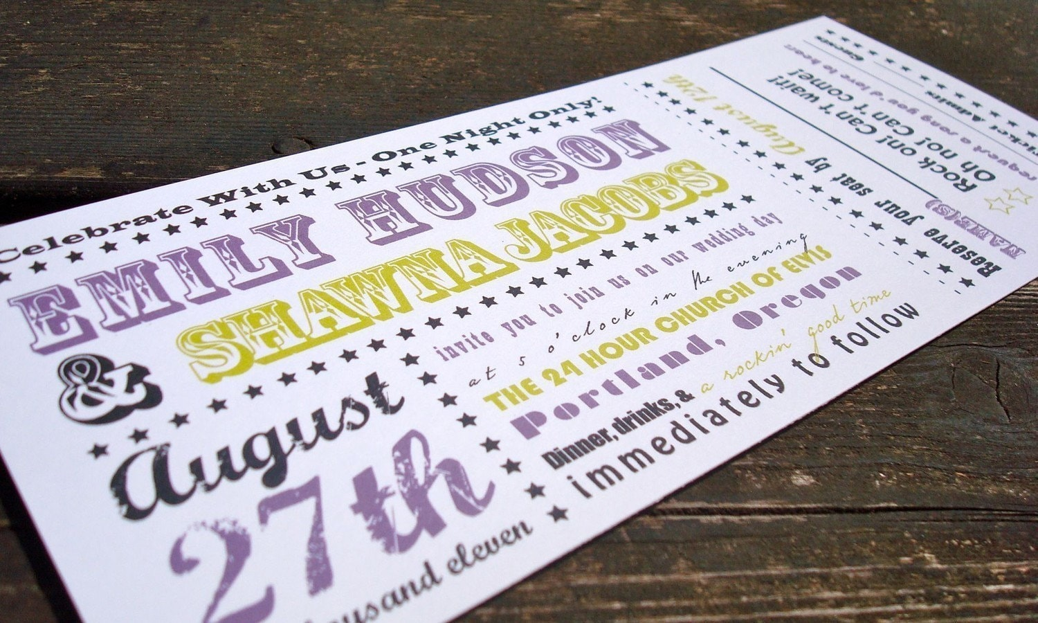 concert ticket wedding invitation sample set by