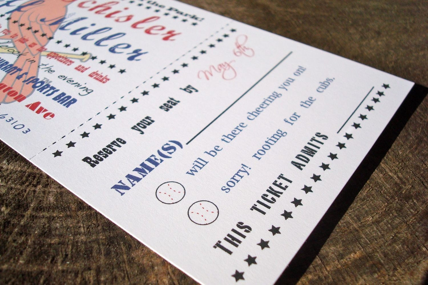 Wedding Invitation Tickets: Baseball Ticket Wedding Invitation Sample