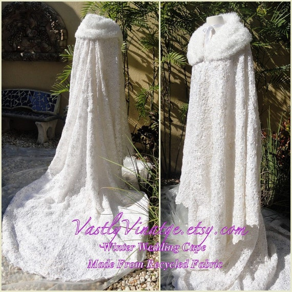 Winter wedding cape on sale white recycled wedding dress long for Winter wedding dresses for sale