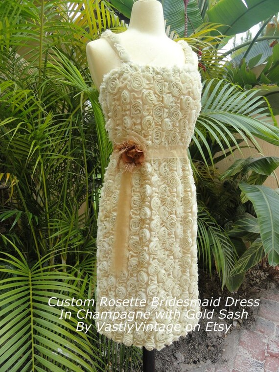Custom Bridesmaid Dress Balance for Bellecho - Hand Dyed Rosettes-Straps-In champagne- vintage lace trim by vastlyvintage on etsy
