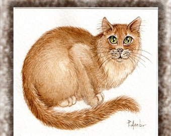 Original ACEO Asian cat..  Original Painting Watercolor Card collectible fine art