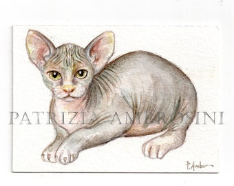 ACEO Original -sphynx- Collectible miniature painting ....watercolour card nature