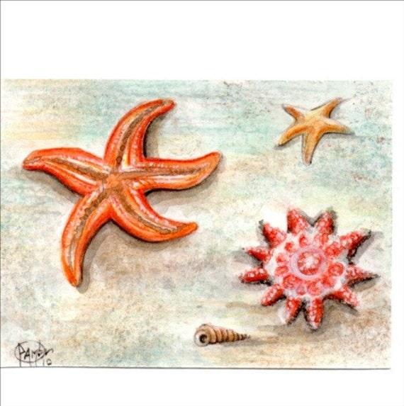 Original ACEO STARFISH .Original Painting Watercolor Card