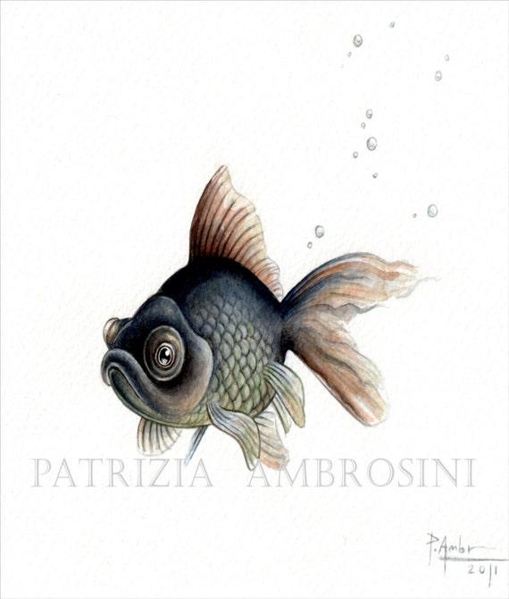 Original 9x7 Watercolour Black Moor Fish  No.2... NOT A PRINT ..Original Painting red fish black fish
