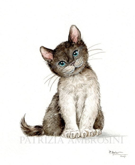 Handpainted 7x9 Watercolour Black&white Cat ......NOT A PRINT .. Original painting