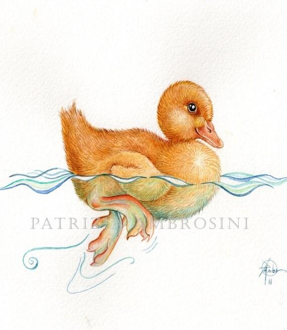 handpainted 9x7 watercolour DUCKLING No.4... . nOT a pRINT ..original painting ,yellow,duck,original art
