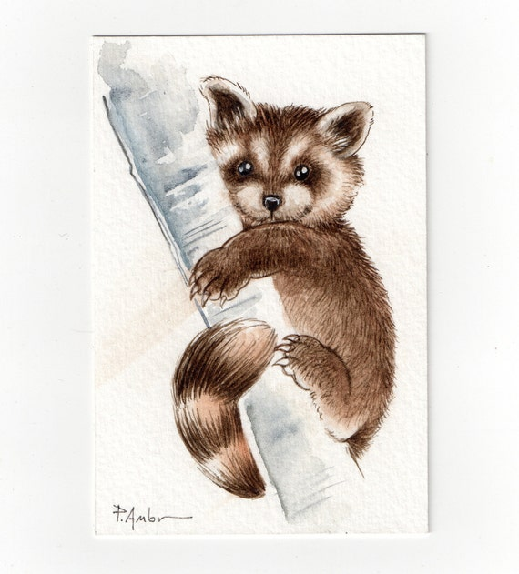 Original ACEO Raccoon  .... NOT A PRINT ..Original Painting Watercolor Card Puppy