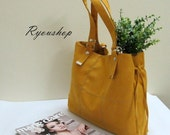 Ryounop Patchwork in Mustard - suede tote / satchel / shoulder bag / laptop / handbag / women / diaper