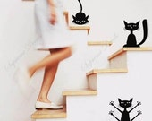 Funny Cats, set of 4 - stickers playroom removable vinyl art wall decals