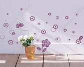 Butterfly and little flowers -  Removable vinyl art wall decals stickers murals home decor