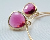 large gold plated hoops with fuchsia glass drops earrings.  Every Day Hoop Collection - FUCHSIA
