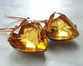 Citrine yellow topaz glass heart dangle drop on copper french wires earrings - Sue's Glass Heart Collection
