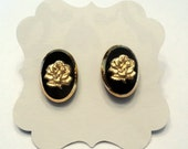 Vintage black and gold rose glass earrings.  Vintage German glass.  Post earrings.  Limited Vintage Edition.