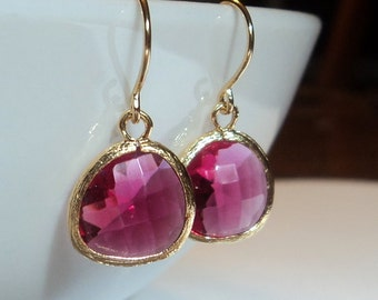 Fuchsia glass and gold dangle earrings.  French wires.  Everyday.  Bridal.  Bridesmaids.  Weddings.