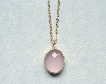 Rose quartz pink glass pendant on gold fill chain necklace.  Everyday.  Bridal.