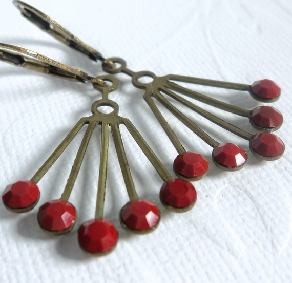 Vintage Swarovski Art Deco brass fan with opaque cherry red glass crystals rhinestones on antiqued brass lever-back ear-wires