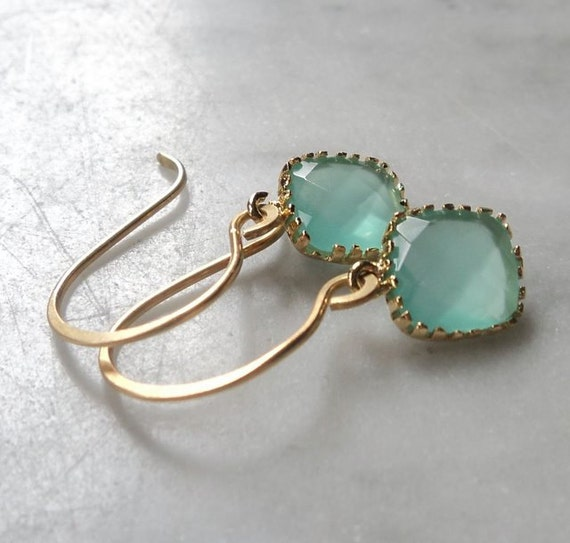 earrings: aqua chalcedony milky aquamarine mint faceted cz cubic zirconia and gold drops on handcrafted brass french ear-wires