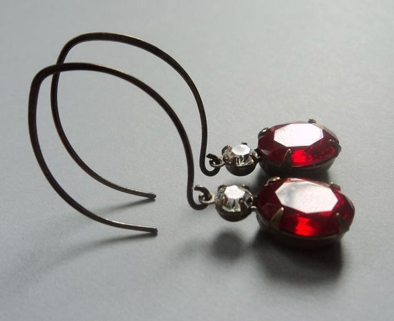 vintage ruby red glass and Swarovski crystal drops on handcrafted oxidized brass earrings
