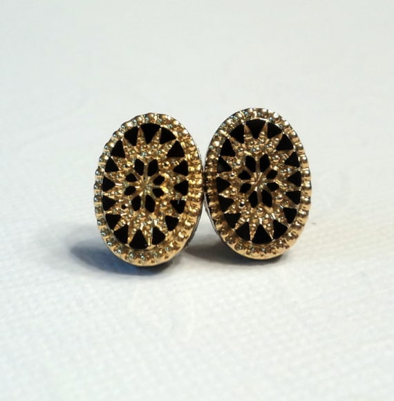 Vintage gold and black glass post stud earrings.  West Germany.  Limited Vintage Edition.