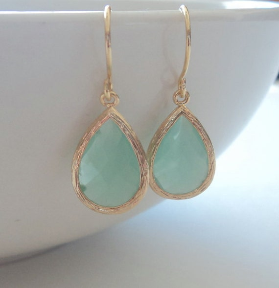 Mint aqua chalcedony aquamarine glass and gold dangle tear shape earrings.  Bridal earrings.  Bridesmaids earrings. Wedding jewelry.