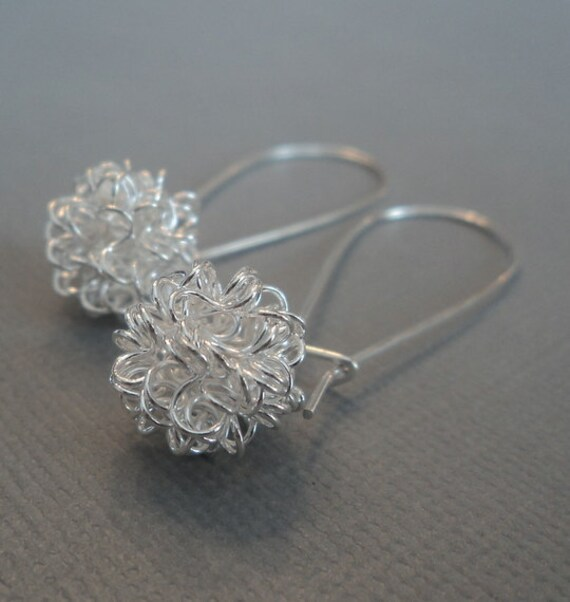 Sterling silver wire balls on sterling silver kindey ear wires.  Dangle earrings.  Everday earrings.  Contemporary.