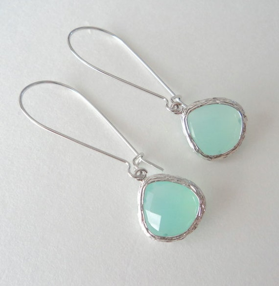 Mint aqua chalcedony aquamarine glass and silver dangle tear shape earrings.  Rhodium kidney wires.  Everyday.  Bridal.  Simple and Pretty.