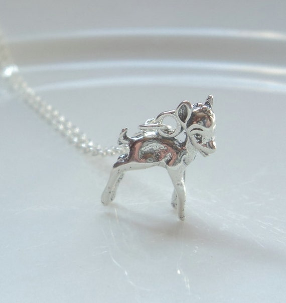 Sterling silver deer charm necklace.  Sterling silver chain.  Bambi.  Forest Friends.