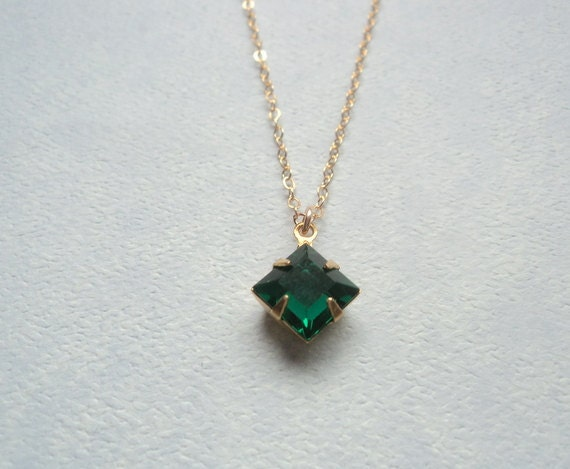 Emerald green vintage glass pendant gold fill chain necklace.  Limited Vintage Collection.  New Item.
