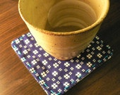 Japanese Well Lid Patterned Coaster Set (4) - Blue