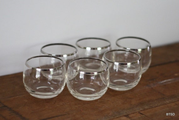 Antique Vintage Roly Poly Lowball Cocktail Glasses Silver