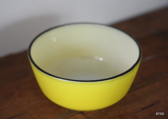 Vintage Antique Yellow and Black Rimmed Fire King Mixing Bowl
