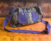 Amazing Violet Jacquard Tapestry Fabric and Suede Shoulder Bag