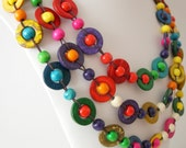 CLOSING DOWN SALE - WAS 25 NOW 15  - Multistrand Beaded Rainbow Necklace (4163)