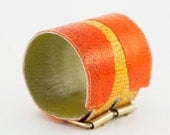 Fish leather cuff - wide bracelet from orange and yellow fish leather