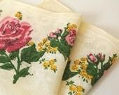 Vintage Pastel Yellow Rose Print Cotton Handkerchief