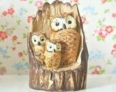 Vintage Owl Family Branch Figurine