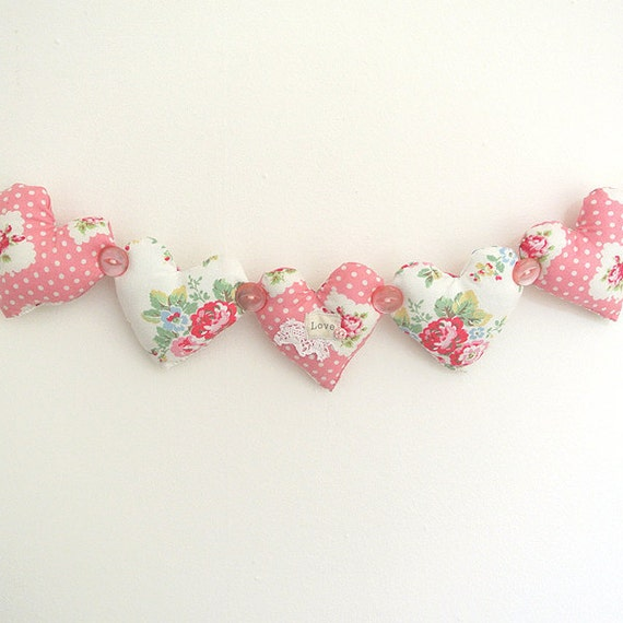 Shabby Chic Fabric Heart Garland