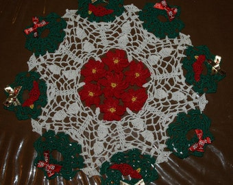 Crochet Christmas Wreath & Cardinals With Poinsettia Flowers Doily Pattern