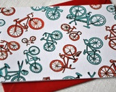 retro red and blue bicycles card (set of 4) or invitations