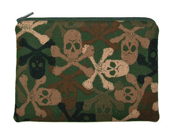 Military Camo Skulls and Crossbones Army Green Zipper Pouch