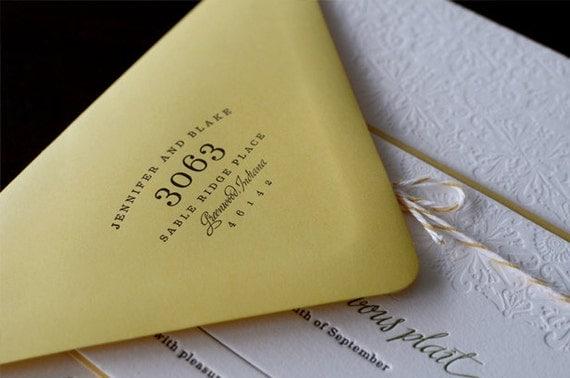 Playfully Chic Letterpress Wedding Invitation - Deposit