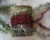 3 Cheers Spool of Antiqued- Red-  Silver TINSEL Trim Garland  cheswickcompany