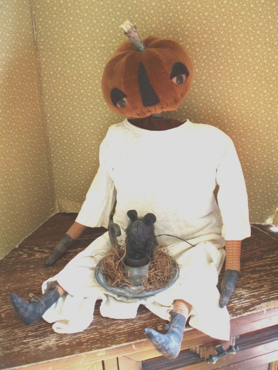 Primitive Halloween Pumpkin Head Doll and Mouse E PATTERN by cheswickcompany